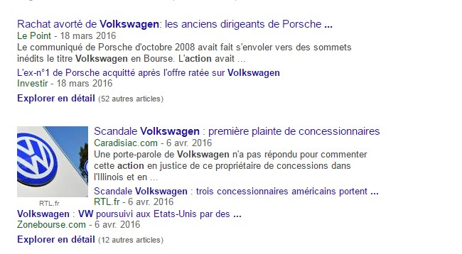 Actualités sur l'action Volkswagen
